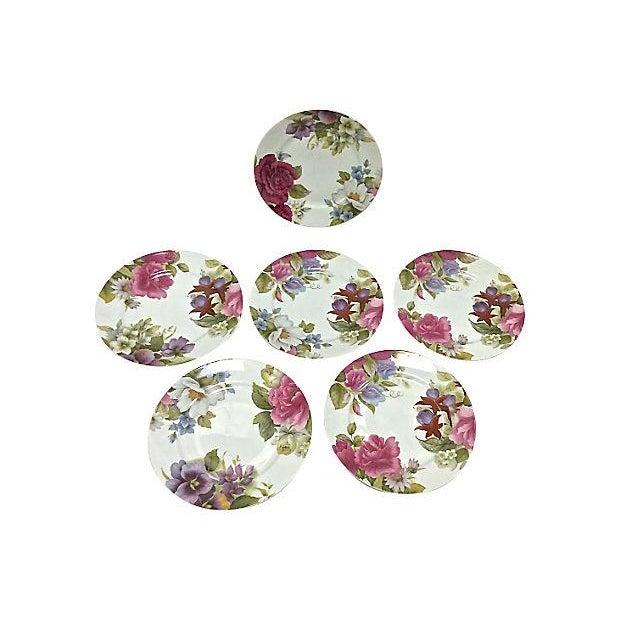 Limoges, France Vintage Porcelain Limoges Floral Plates - Set of 6 For Sale - Image 4 of 7