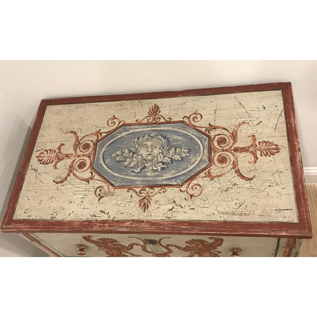 Beautiful and unique 18th C. painted dresser with antique patina. The dresser has two drawers and features stunning hand...
