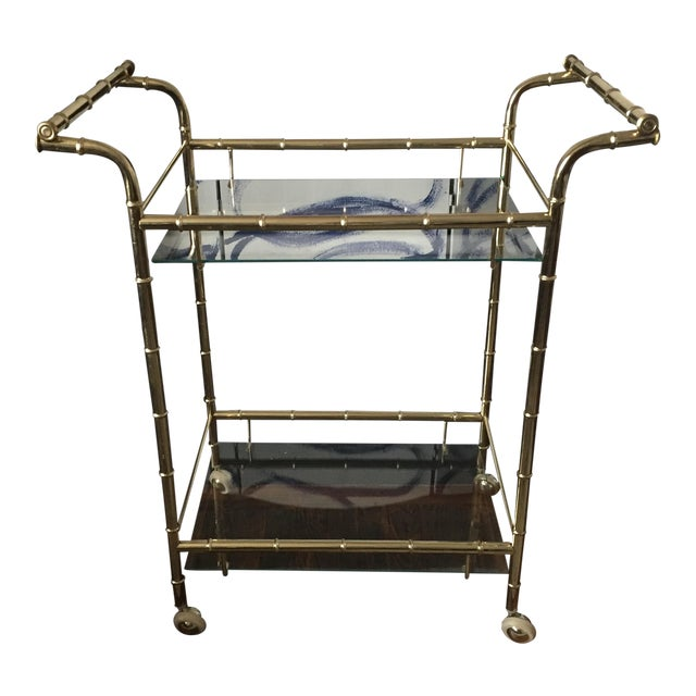 Hollywood Regency Brass Faux Bamboo & Glass Rolling Bar Cart - Image 1 of 11