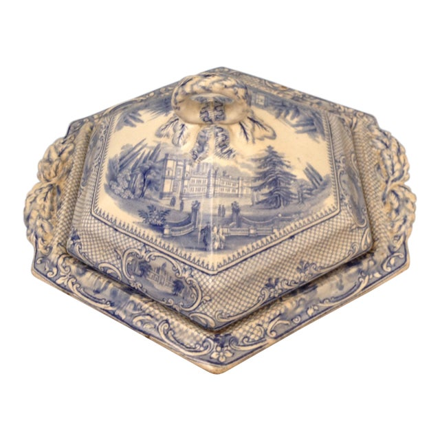 Antique Blue and White Transferware Dish With Lid For Sale