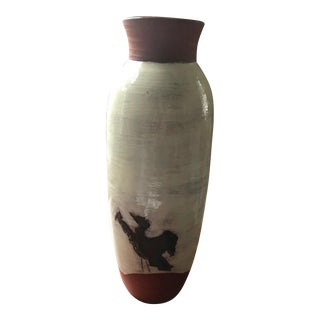 Studio Pottery Large Glazed Terracotta Bird Motif Vase For Sale