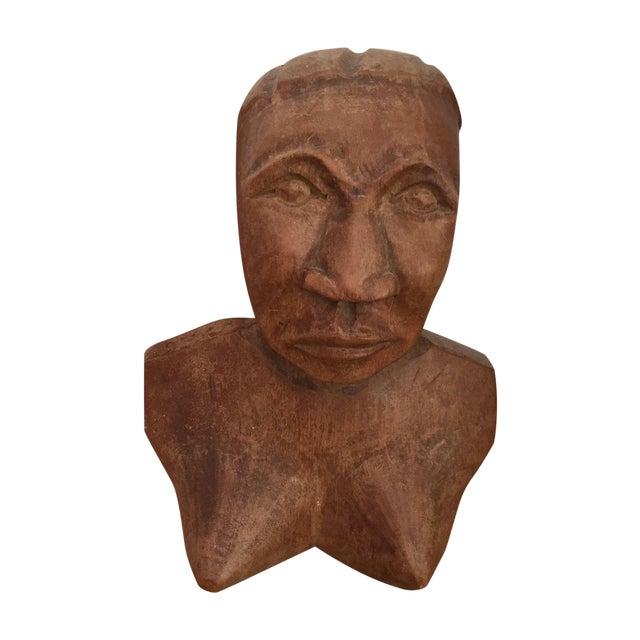 Vintage Hand Carved Female Bust Wood Sculpture - Image 1 of 9