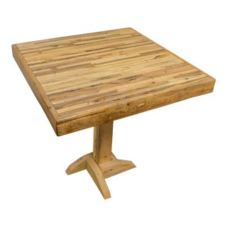 Reclaimed Brown Wood Top Bistro Table