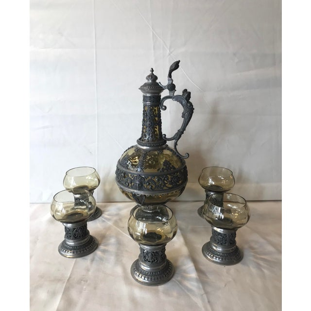 1920s Italian Spelter and Glass decanter and 6 glasses wine serving set. All pieces are excellent condition with no chips...