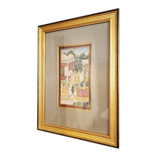 18th Century Indian Hindu Gouache Painting With Gold Frame For Sale