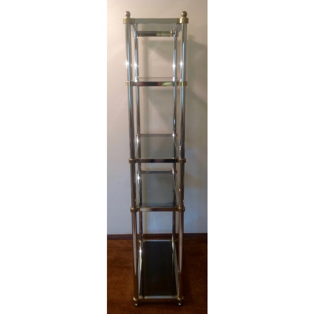 Maison Jansen Maison Jansen Etagere, Chrome & Brass Smoked Glass For Sale - Image 4 of 10