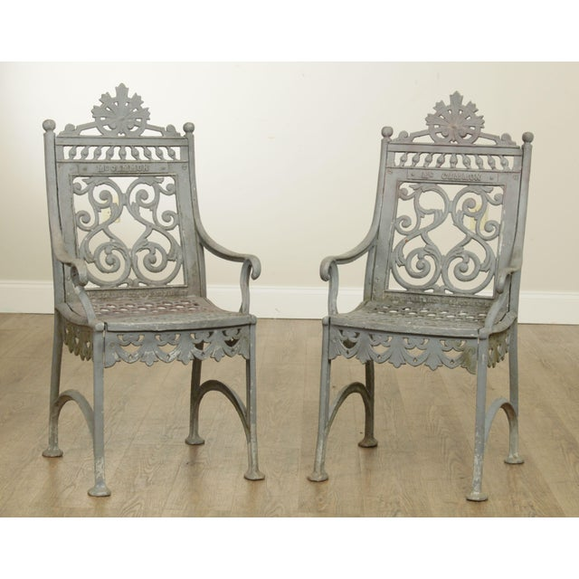 High Quality Antique 19th Century Pair of Heavy Cast Iron Cemetary Chairs Labeled MC Cammon Fred Gensel & Co. 911 & 913...