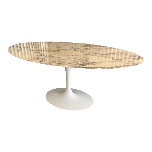 "Authentic Knoll Eero Saarinen 78"" Oval Arabescato Marble Dining Tulip Table For Sale"