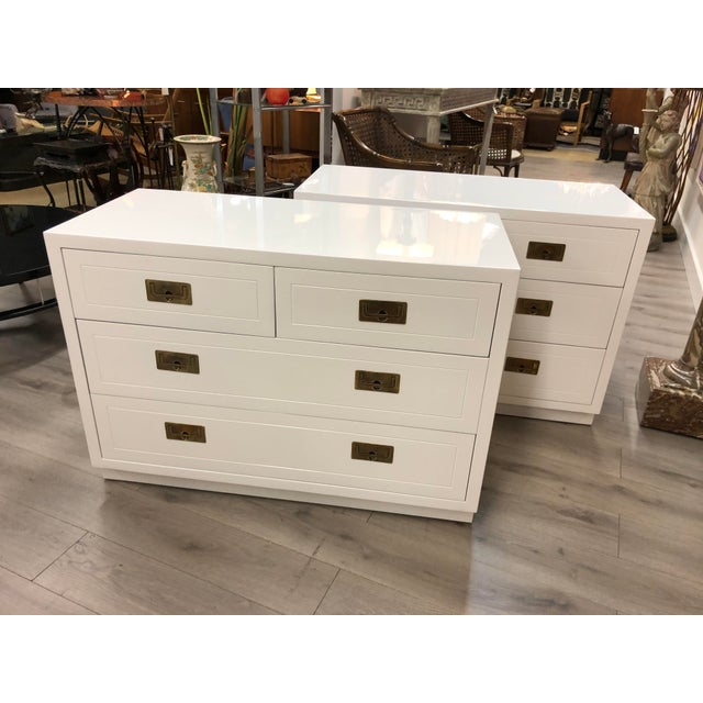 Pair of Campaign Style Chest by Henredon Home Furniture For Sale - Image 9 of 9