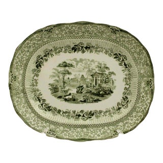Antique English Transfer Ware Ridgeways Green Grecian Pattern Platter For Sale