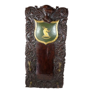 Antique Carved Mahogany & Brass Wall Rack For Sale