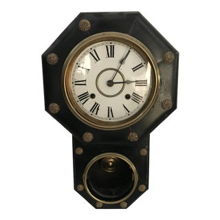 Late 19th Century Antique Regency Wall Clock For Sale