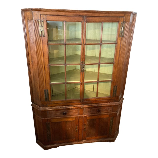 Pine Corner Cabinet With Wavy Original Glass For Sale