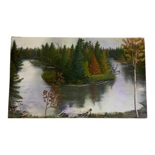 Vintage Landscape Water and Trees Original Acrylic Painting on Board For Sale