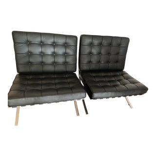 Barcelona Style Lounge Chairs - A Pair For Sale