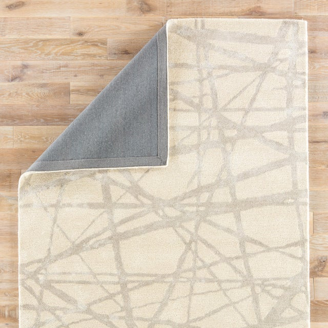 Nikki Chu by Jaipur Living Avondale Handmade Abstract White & Gray Area Rug - 9' X 12' For Sale - Image 4 of 6