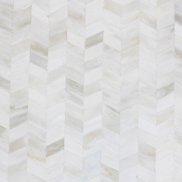 White Herringbone Inlay Side Table - Image 2 of 4