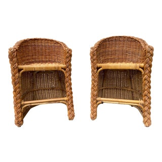 Vintage 1970's Crespi Style Woven Rattan and Bamboo Bar Stools - a Pair For Sale