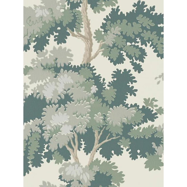Traditional Sample, Scalamandre Raphael, Green Wallpaper For Sale - Image 3 of 3