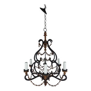 Spanish Wrought Iron & Wood Beaded Chandelier For Sale