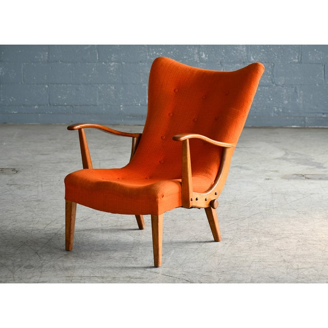 Rare and unusual reclining lounge chair made from beechwood - this example made approx. 1950s presumably by cabinetmaker...