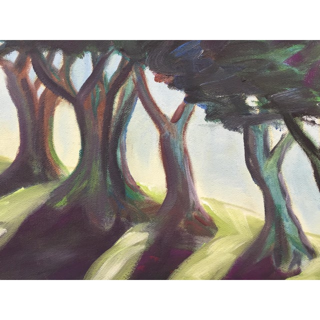 Canvas Landscape Painting of Trees on Framed Canvas For Sale - Image 7 of 8