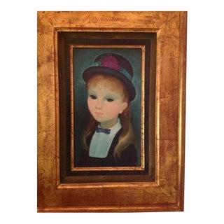 """""""Jeune Fille Dans Le Chapeau"""" Original Portrait Oil Painting For Sale"""