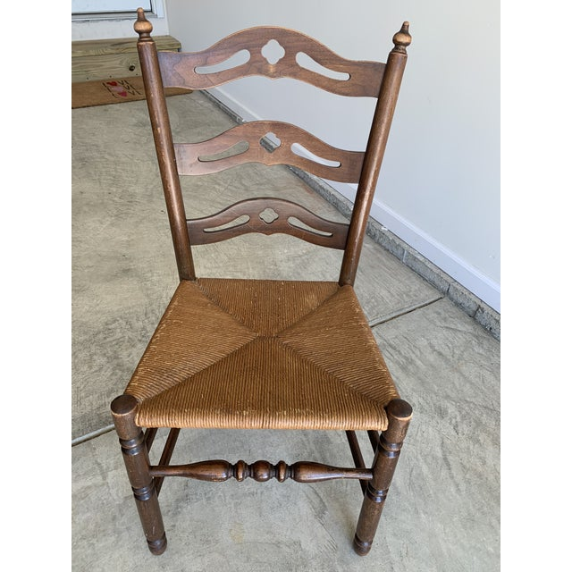 Early 20th Century French Country Carved Pierced Ladder Back Chair With Rush Seat For Sale In Lexington, KY - Image 6 of 7