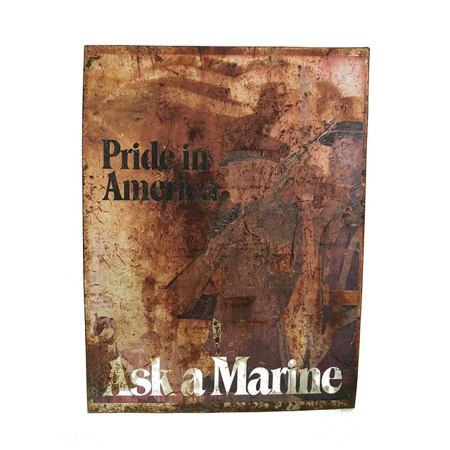 """Ask a Marine"" Large Tin Sign For Sale"