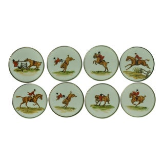 Cyril Gorainoff Fox Hunt Milk Glass Coasters W/ Sterling Rims - Set of 8 For Sale