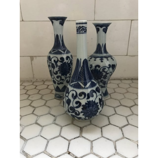Blue & White Porcelain Vases - Set of 3 For Sale - Image 5 of 9