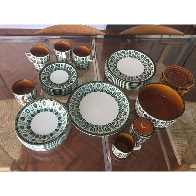 Belgium Boch Noix Hand Painted Place Settings - 44 Pieces - Image 2 of 10