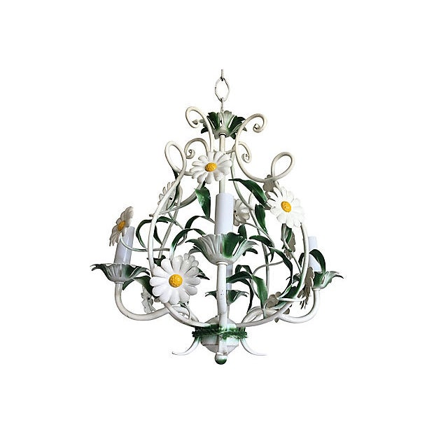 Light and airy 1950s Italian tole four-arm chandelier featuring white plastic daisies and green leaves in a scrolled open...