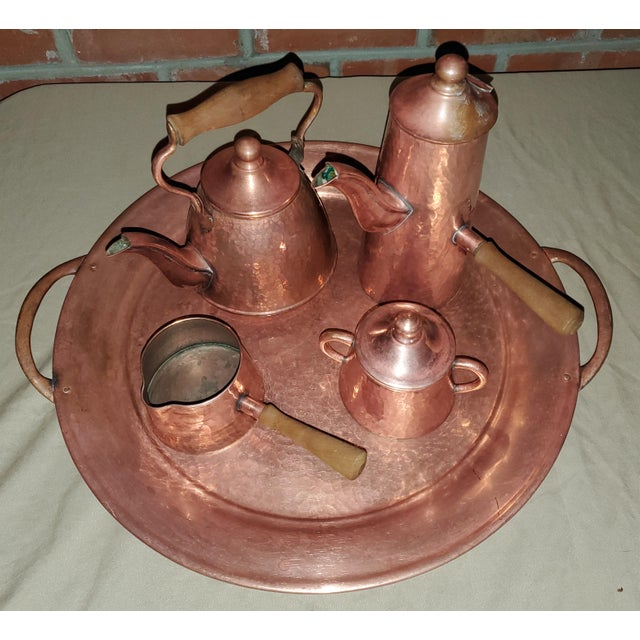 Farmhouse Vintage Rustic Mexican Hammered Copper and Brass Coffee Serving Set For Sale - Image 3 of 13