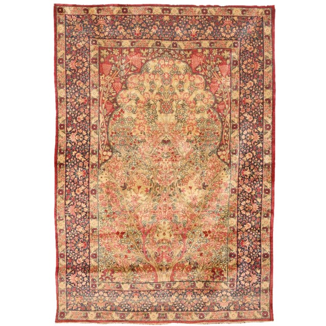Antique 19th Century Persian Lavar Kerman Rug For Sale