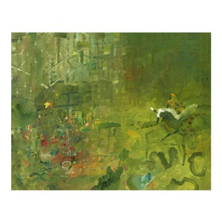 """Urso Contemporary Abstract Green Painting """"Garden Unicorn"""" For Sale"""