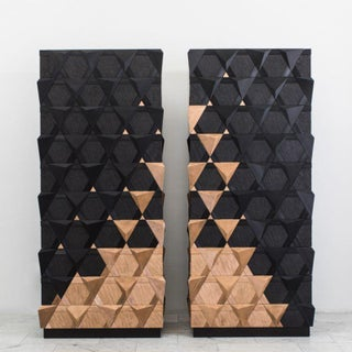 Pair of 2016 French Jean-Luc Le Mounier Origami Armoires
