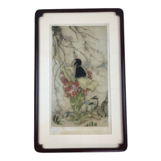 """Framed Elyse Ashe Lord """"Woman Under Cherry Blossom Tree"""" Hand Colted Etching"""