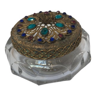 Vintage Jeweled Powder Jar