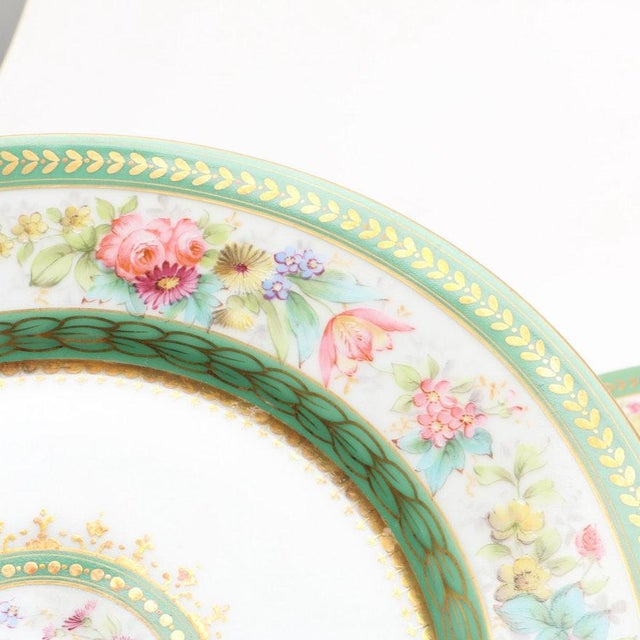 Mid 19th Century Antique C. Ahrenfeldt Limoges Dinner Plates With Hand Painted and Gilt Accents - Set of 12 For Sale - Image 5 of 13