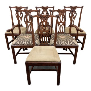 Chippendale Style Walnut Finished Chairs - Set of Six For Sale
