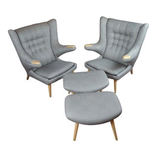 "Hans Wegner Style ""Fabulous"" Papa Bear Chairs & Footstools - A Pair For Sale"