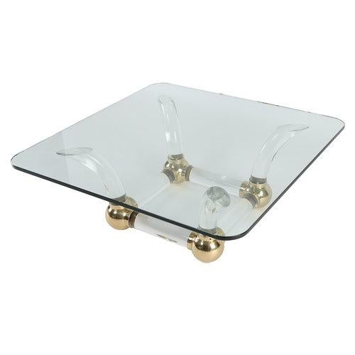 1970S SABRE-LEG LUCITE, BRASS AND GLASS COFFEE TABLE For Sale - Image 9 of 10