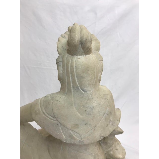 Guanyin / Guan Yin Bodhisattva Carved Marble Immortal Reclining Buddha Figure For Sale - Image 10 of 12