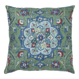 Schumacher Jahanara Carpet Pillow in Jade For Sale