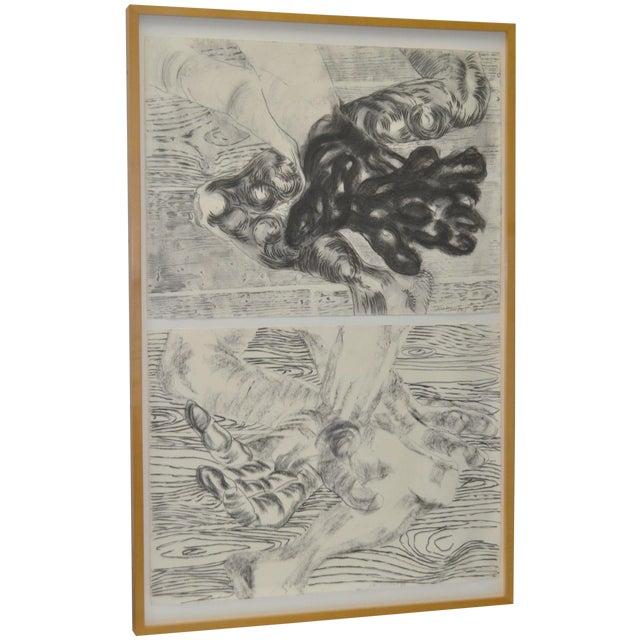 1980's Frank Van Hermert Diptych Drawings - Image 1 of 5