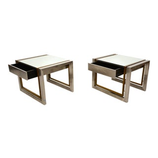 Arturo Pani Stainless Brass Side Tables For Sale