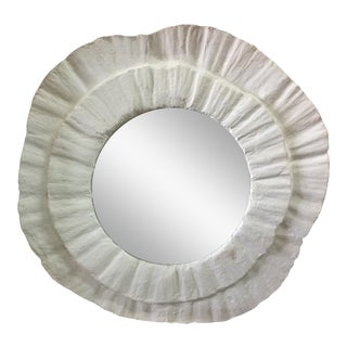 French Plaster Wavy Round Wall Mirror For Sale