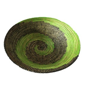 "Handmade Woven Wolof Basket From Senegal 17"" in Diameter For Sale"