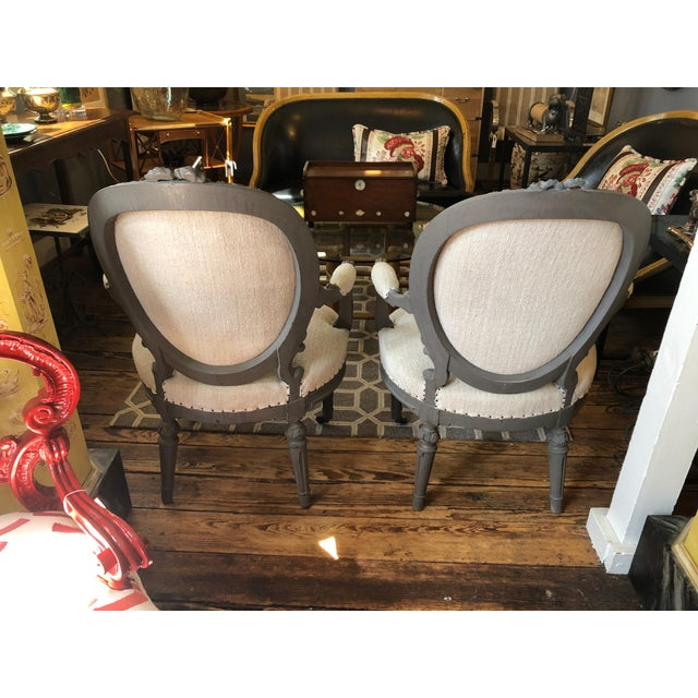 1940s 1940s Vintage Grey Painted French Fauteuil Chairs- A Pair For Sale - Image 5 of 13